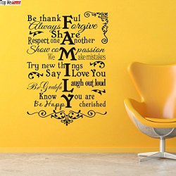 Top-Me Family Rules Vinyl Wall Decal - In This House We Do - Subway Art - House Rules - Wall Art - Vinyl Lettering 8224