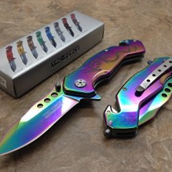 Tac Force Assisted Opening Rainbow Dragon Design Handle Rescue Tactical Rainbow Stainless Steel Blade For Hunting Camping Outdoor Knife - Rainbow