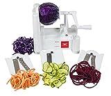 Paderno World Cuisine A4982799 Tri-Blade Plastic Spiral Vegetable Slicer