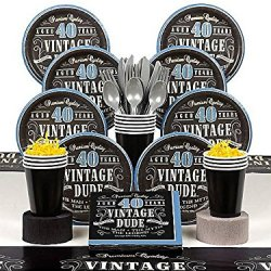 Vintage Dude 40Th Deluxe Tableware Kit (Serves 8)