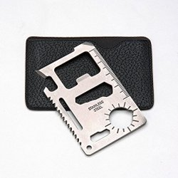 Credit Card Sized Multi Tool 11 In 1 For Survival Camping Outdoors Emergency Use, Multiple Function Tool Made Of Stainless Steel, Fits In Wallet Or Pocket, Pu Faux Leather Carrying Case
