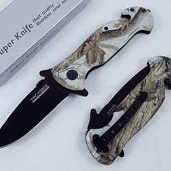 Tac Force Outdoor Folding Knife Black Stainless Steel Blade Green Camo Aluminum Handle Knife