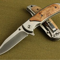 Rescue Hardwood Spring Glass Breaker Folding Pocket Knife Small Size Bln338-6.29''