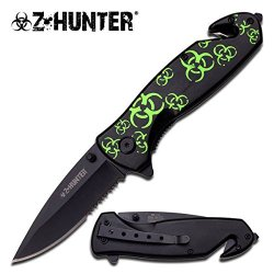 Zombie Hunter Green Biohazard Spring Assisted Tactical Folding Knife W/ Pocket Clip (Limited Edition