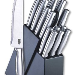 Kitchen Knife Sets 15-Piece Stainless-Steel Cutlery Set With Storage Block New
