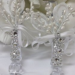 "Wedding Cake Knife Server White Flower Acrylic Handle Our Wedding Spanish "" Nuestra Boda"""
