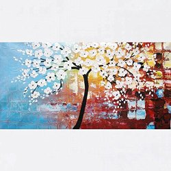 Xm Art-Beautiful Landscape White Tree Palette Knife Landscape Oil Painting On Canvas Wall Art Deco Home Decoration(Unstretch And No Frame)
