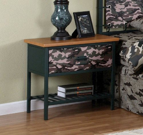 Image of Kids Nightstand with Army Camouflage Design and Dark Green Frame (AZ00-46850x20947)