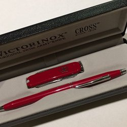 Victorinox Knife & Century Cross Pen Gift Set (Red)
