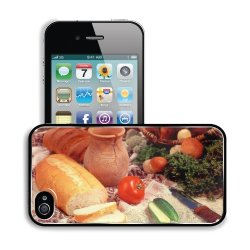 Cucumber Bread Tomato Baked Goods Herbs Knife Apple Iphone 4 / 4S Snap Cover Premium Aluminium Design Back Plate Case Customized Made To Order Support Ready 4 7/16 Inch (112Mm) X 2 3/8 Inch (60Mm) X 7/16 Inch (11Mm) Liil Iphone_4 4S Professional Metal Cas