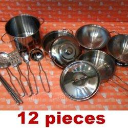 12Pcs Mini Small Size Stainless Steel Kid Toy Kitchen Metal Pot Pan Cookware Pretend Play Set