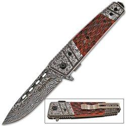 Etched Damascus Folding Knife (Bone)