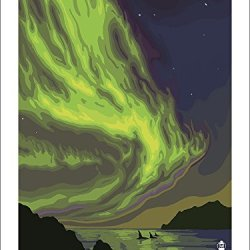 Yellowknife, Canada - Northern Lights With Orcas (9X12 Art Print)