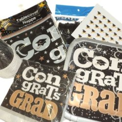 Black & Gold Graduation, High School, College Party Supplies - Plates, Napkins, Cutlery, Cups, Tablecover & Hershey Kiss Labels
