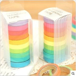 Udtee 10 Rolls New/Beautiful/Colorful Craft Adhesive Tape-Rainbow Pattern Tapes Stickers Set For Diy Work Decoration