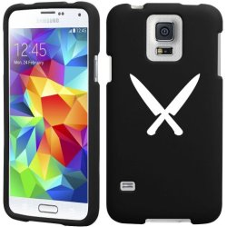 Samsung Galaxy S5 Active G870 Snap On 2 Piece Rubber Hard Case Cover Chef Knives (Black)
