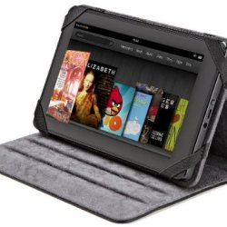 Amazonbasics Leather Folio Cover With Multi-Angle Adjustable Stand For 6-Inch To 7-Inch Display E-Readers And Tablets Including Kindle Fire, Samsung Galaxy Tab (Black)