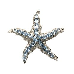 Sterling Silver Starfish Pin W/White & Blue Crystal Stones