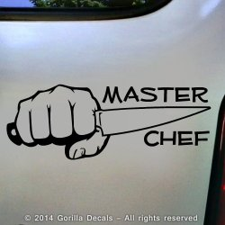Master Chef Cook Knife Whisk Decal Vinyl Bumper Sticker Laptop Window Car Wall Sign Black