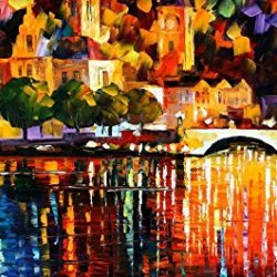100% Oil Painting Unframed City Night River Home Decoration Modern Knife Paintng On Canvas 20X40In/50X100Cm