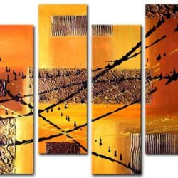 Sangu Wood Framed Smooth Metal Abstract Home Decoration Modern Oil Painting Gift On Canvas 4-Piece Art Wall Decor