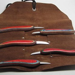 5Pc Chip Wood Carving Knife Whittling Caricature Leather Tool Roll Ramelson