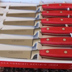 Brandani Grand Chef Steak Knife Set 6Pcs -Red Handles - Stainless Steel