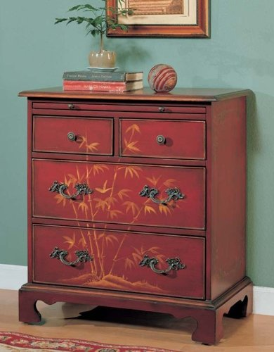 Image of Console Table Bombe Chest Cherry Finish (VF_AM9160)