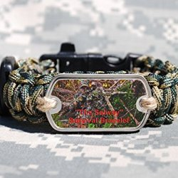 Survival Bracelet With Fire Starter, Tinder, Ranger Band, Fishing Gear, Compass, Woodland Camo 550 Cord And Stainless Steel Signal Mirror; Size 8