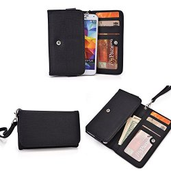Doogee Dagger Dg550 Wallet Wristlet Clutch With Hand Strap And Credit Card Slots| Matte Black
