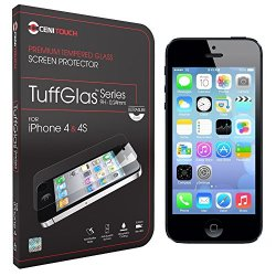 Cenitouch® - Ultra Slim Tempered-Glass Screen Protector For Iphone 4S / 4 [Tuffglas® Technology] (0.24Mm) Latest Edition Thin Rounded Edges With 9H Hardness - Includes Microfiber Cleaning Cloth & Instructions