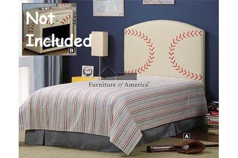 Image of Kid Youth Baseball Twin Size Bed Headboard (Cm7103-BSBL)