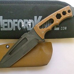 Medford Knife And Tool Sawnto Fixed Blade Survival Knife Coyote Handle & Sheath