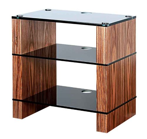 Image of BLOK STAX DeLuxe 300 Three Shelf Zebrano Hifi Audio Stand & AV TV Furniture Rack Unit (B008AHJ3YE)