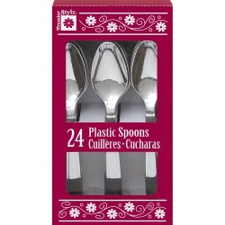 Silver Plastic Spoons, 24Ct