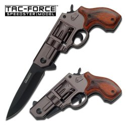 Tac Force Gun Knife In Black With Black Aluminum Revolver Handle With Red Wood Overlay 440 Black Stainless Steel Blade
