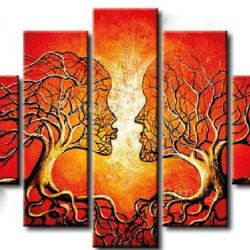 Sangu 5-Piece Hand-Painted Abstract Tree Kiss Oil Painting Canvas Wall Art For Home Decoration
