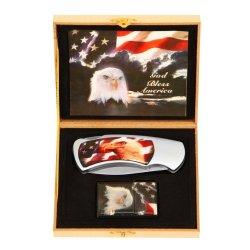 Usa Flag And Eagle Knife And Lighter Set