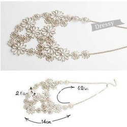 Chariot Trading - N001 New ! Multilayer Gold Hollow Flowers Statement Necklaces For Women Choker Necklace