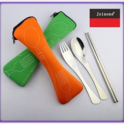 Sexriver'S Stainless Steel Spoon Fork Chopsticks Three-Piece Suit Travel Cutlery Canvas Tail Dive Bag Portable Tableware