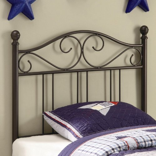 Image of Twin Size Kid Headboard with Swirling Accents in Glossy Finished Dark Metal (VF_450103T)