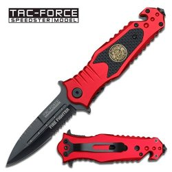"""3.25"""" """"Fire Fighter"""" Spring Assisted Opening Rescue Knife - Red & Black"""