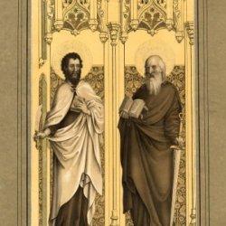 Antique Print-Apostle-Peter-Bartholomew-Sword-Book-Knife-Wilhelm-Strixner-1822