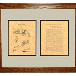 """Knife Attachment For Revolvers Patent Art Print In A Honey Red Oak Wood Frame (16"""" X 20"""")"""