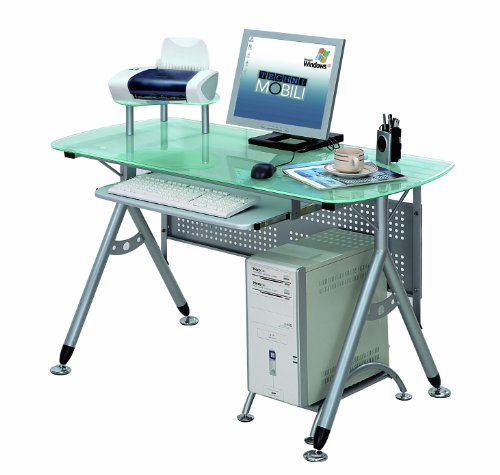 Picture of Comfortable Mad Tech 34.5x23.5x47 Frosted Glass Panel & Steel Frame Computer Office Desk Table (B004W0MHWS) (Computer Desks)