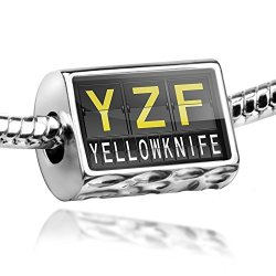 Charm Yzf Airport Code For Yellowknife - Bead Fit All European Bracelets , Neonblond