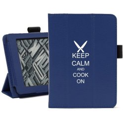 Blue Amazon Kindle Paperwhite Leather Magnetic Case Cover Stand Keep Calm And Cook On Chef Knives
