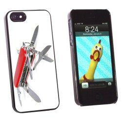 Graphics And More Multi-Function Knife Screwdriver - Snap-On Hard Protective Case For Apple Iphone 5/5S - Non-Retail Packaging - Black