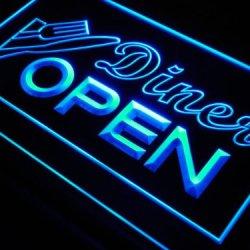 Adv Pro J718-B Diner Open Knife Fork Cafe Neon Light Sign