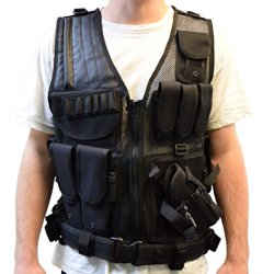 Tactical Vest Black For Hunting, Police, Swat With Pistol / Gun Holster / Pouches (Vest-V01B By Vivo)